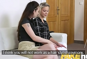 Female Agent New model discovers hot casting couch wet lesbian orgasms