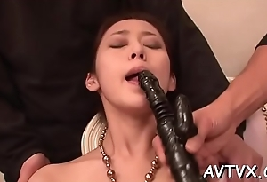 Arousing asian love tunnel toying