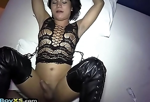 Ladyboy in tigh high boots gets barebacked POV style