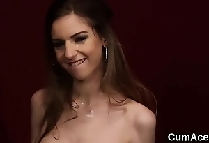 Unusual bombshell gets cumshot on her facet sucking all the load