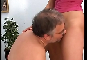 Filth old pig hitting at bottom her little niece