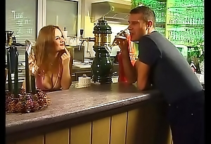 Waitress white-haired up and fucked by a customer