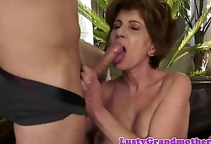 Faketit granny in stockings gets doggystyled