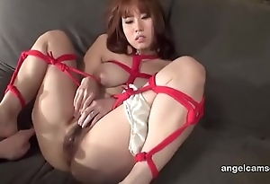 Busty Japanese girl tied up added to toyed Watch live part02 on angelcamsex.com